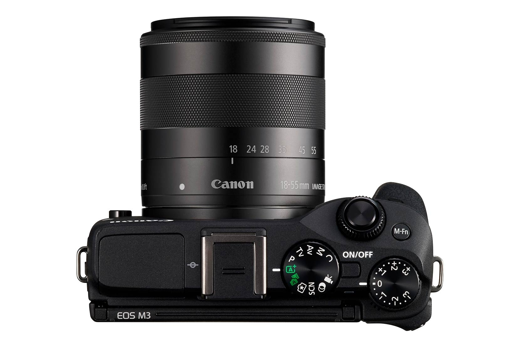 The Canon EOS M3 from above - the flash is concealed under the door on the top left