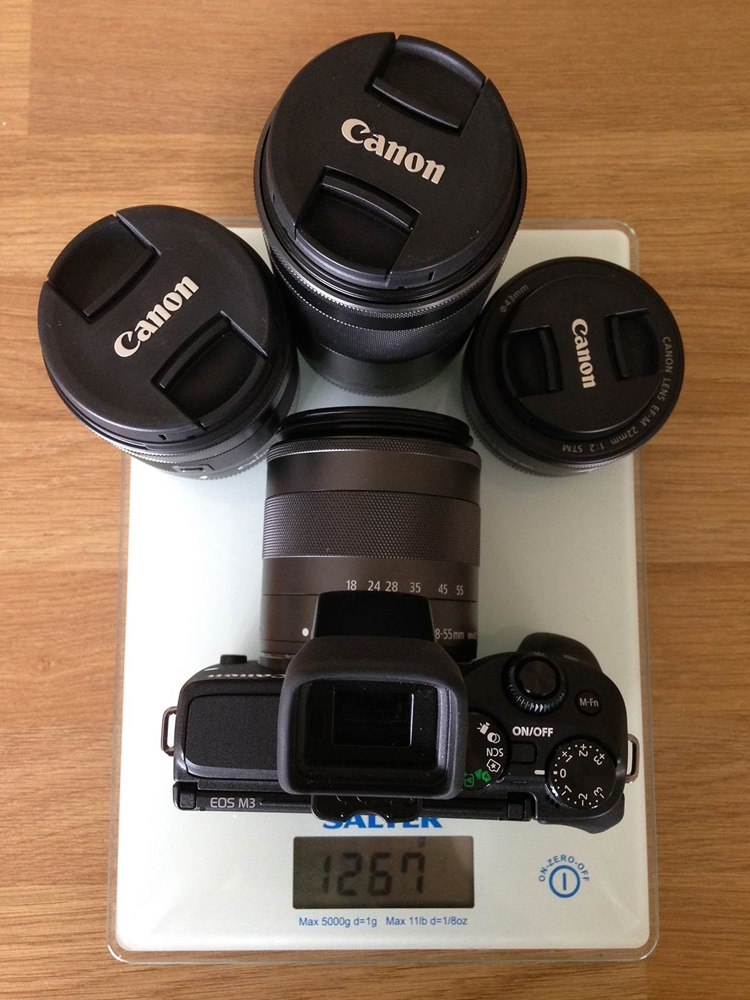 The whole kit (minus the EF adapter) weighs just 1.2kg, thats for a 18-320mm equivalent setup