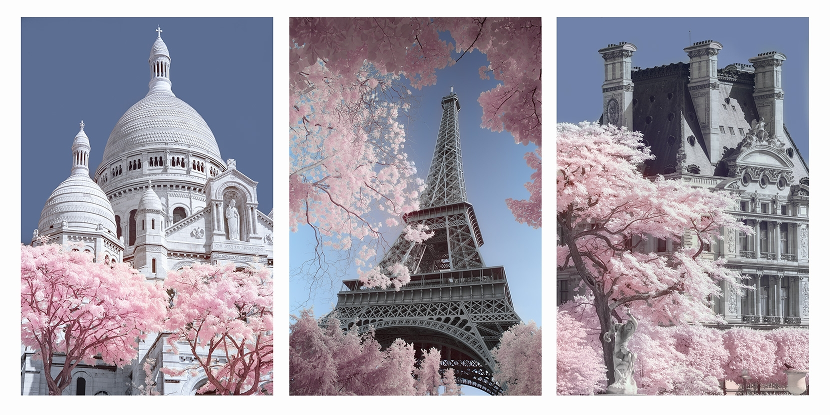 No designed as a tripych, but three individually saleable images of Paris in infrared