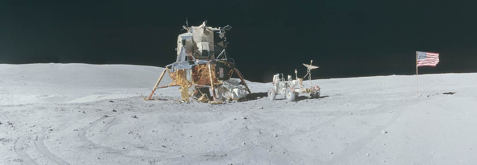 A stitch of four images, the Lunar Rover and Apollo 17