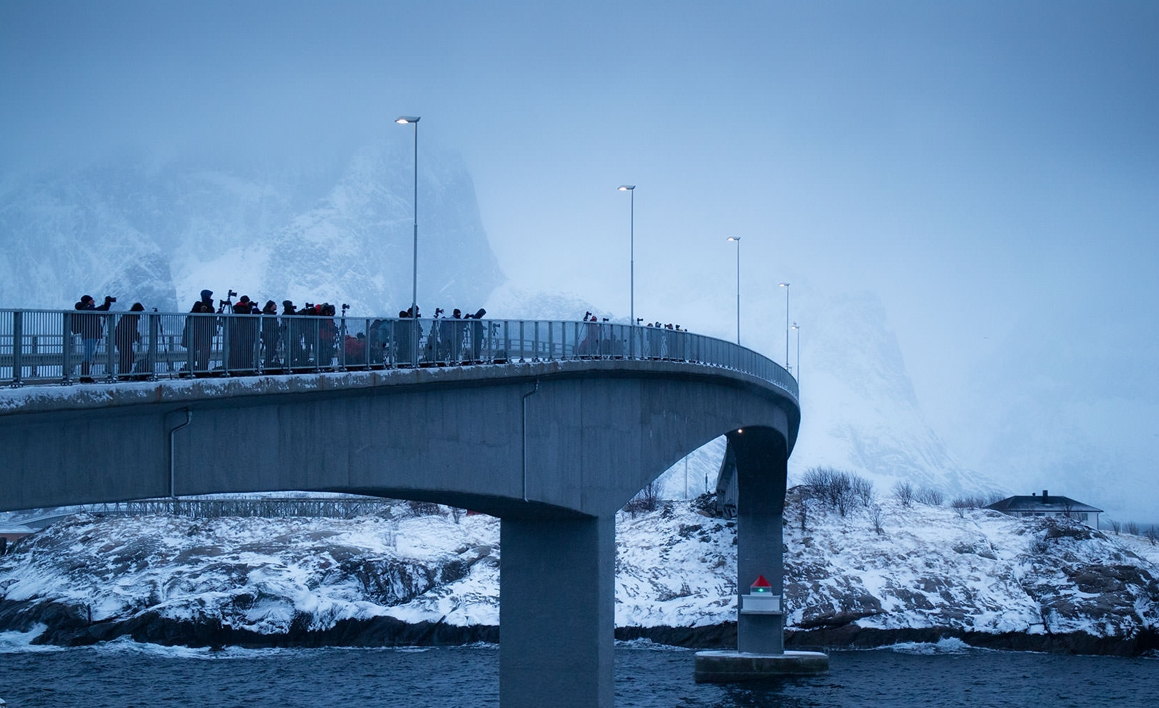 Like a Bridge Over Icy Water - A common winter sight any time of day... Hamnoy, Lofoten Islands
