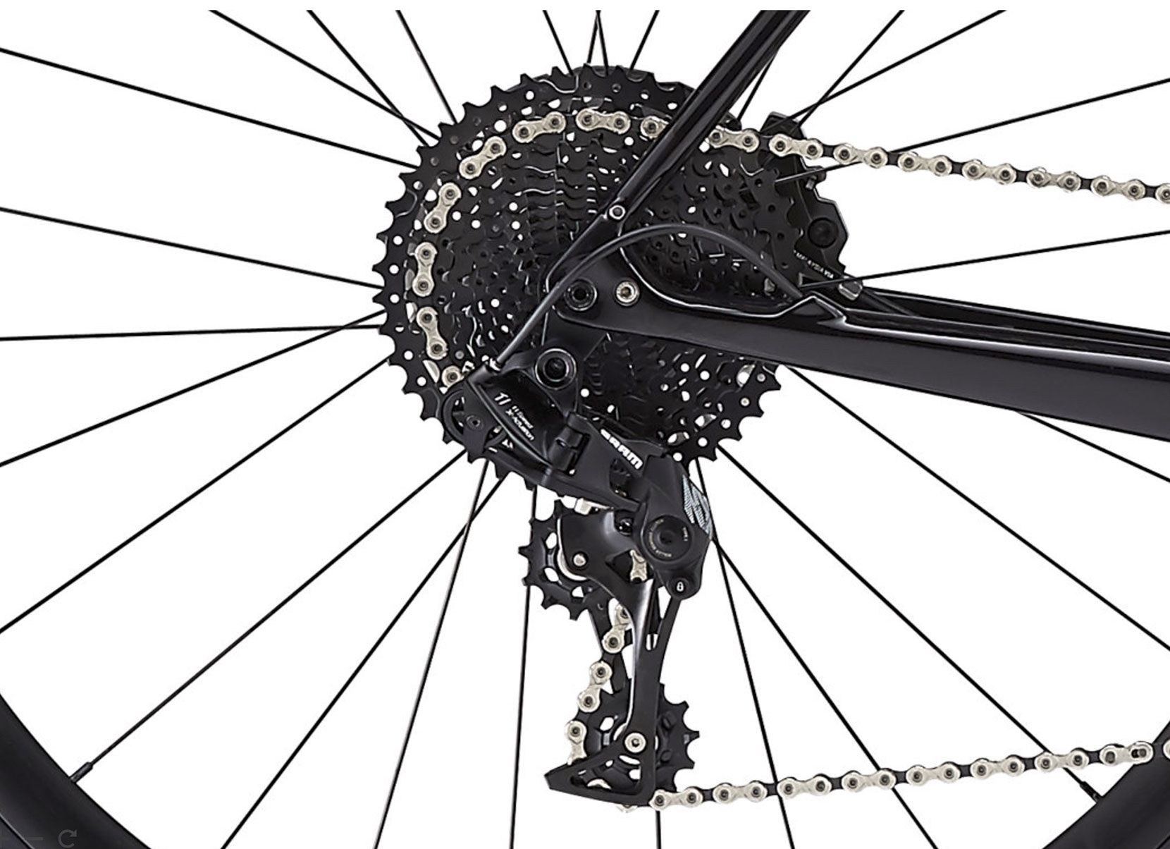 The SRAM rear derailleur and huge Sunrace cassette - the gear range is suited perfectly to urban and gravel rides