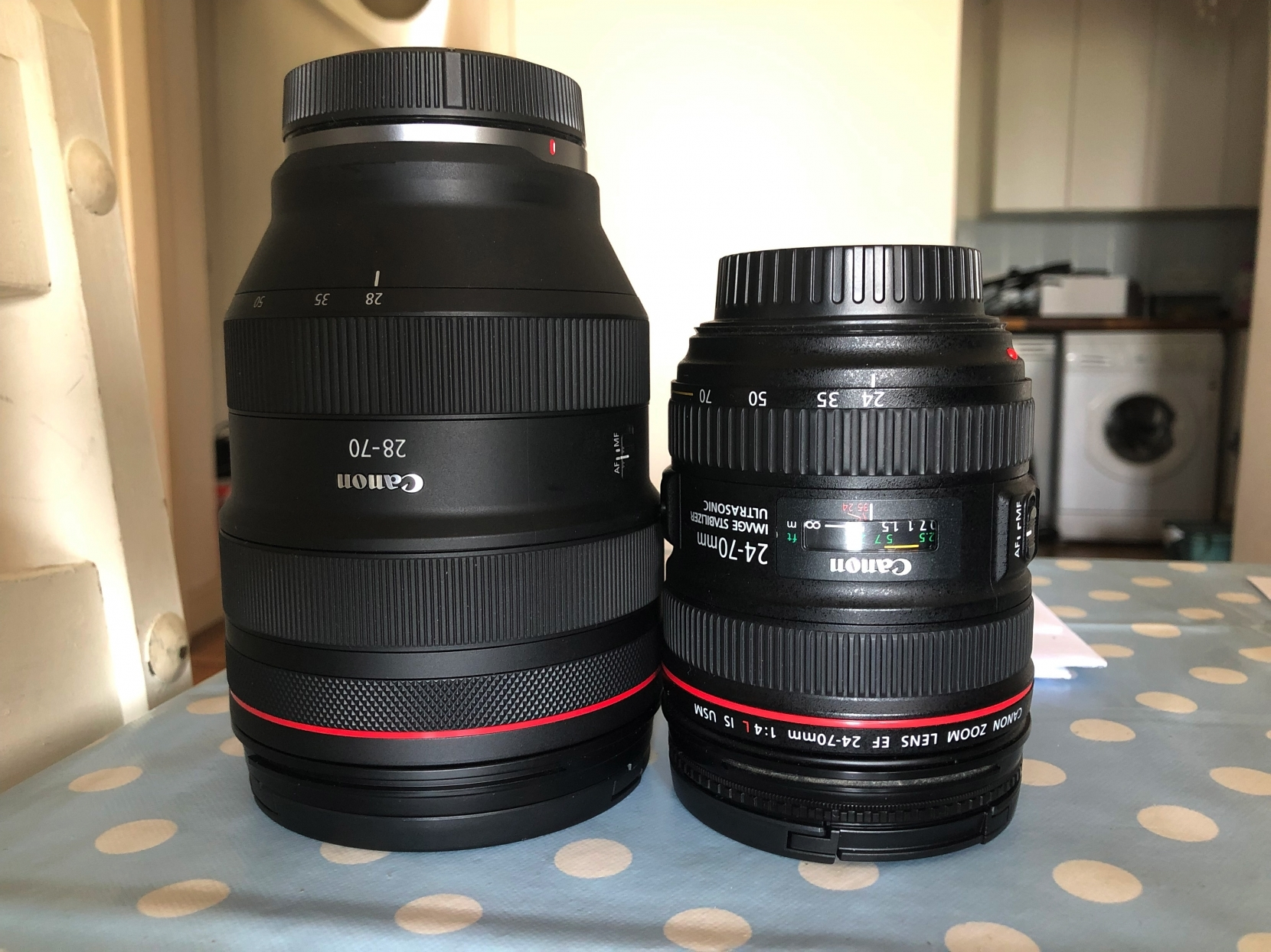 In comparison to the EF 24-70 f4L IS, then lens is three times as heavy and offers an extra two stops of performance