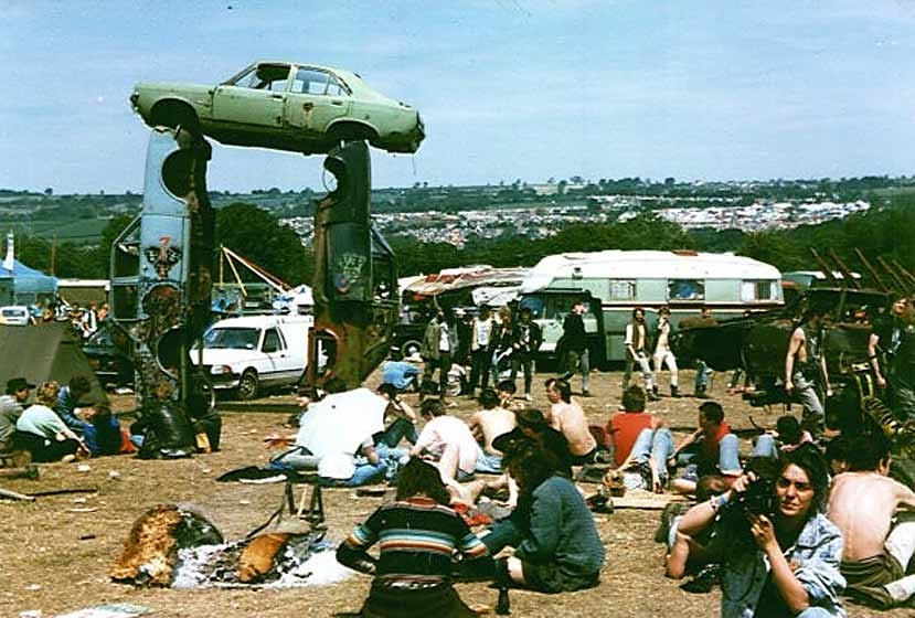 Glastonbury in the late 80's... Car Henge © Janet Thompson