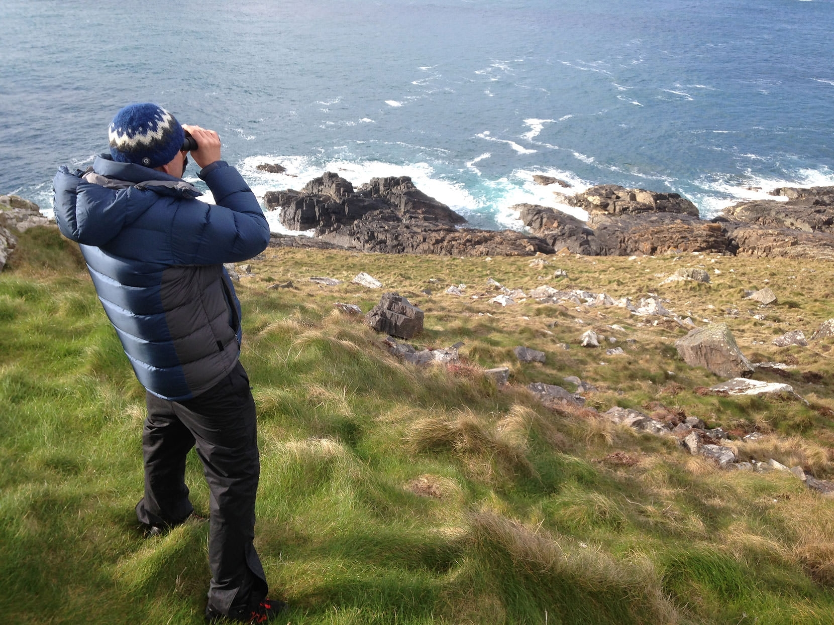 Watching seals on the coast at Pendeen, Cornwall...