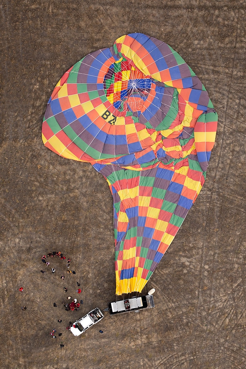 Hovering over a deflated balloon - it's fabulous to shoot imagery directly downwards