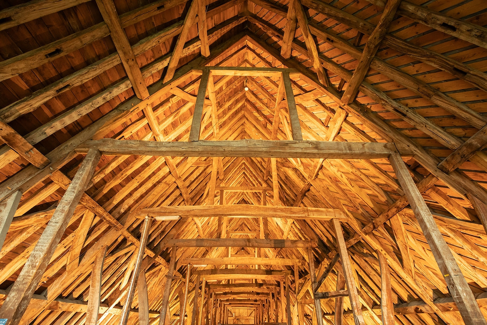The roof space above the nave is literally an historic timber frame museum.