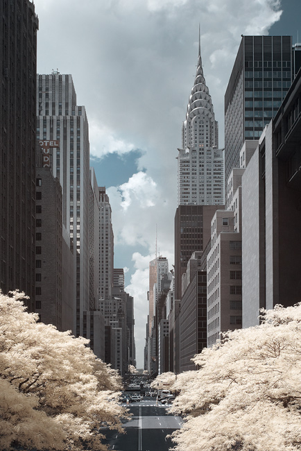 42nd Street in infrared, Manhattan.