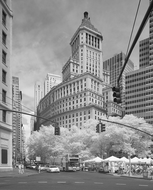 Financial District, wonderful art deco building in infrared, New York