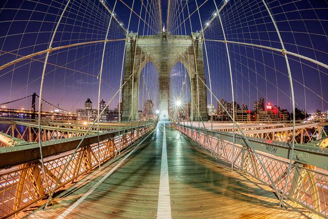 Brooklyn Bridge, photographed with a Sigma 15mm Fisheye - New York