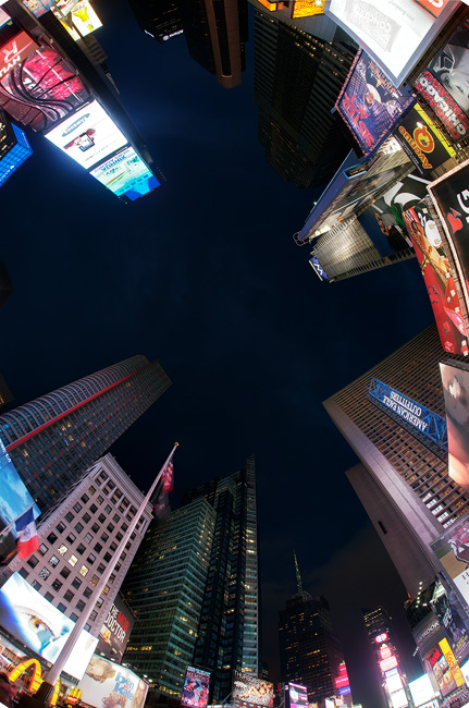 Times Square, Manhattan - fisheye lens image looking vertically upwards